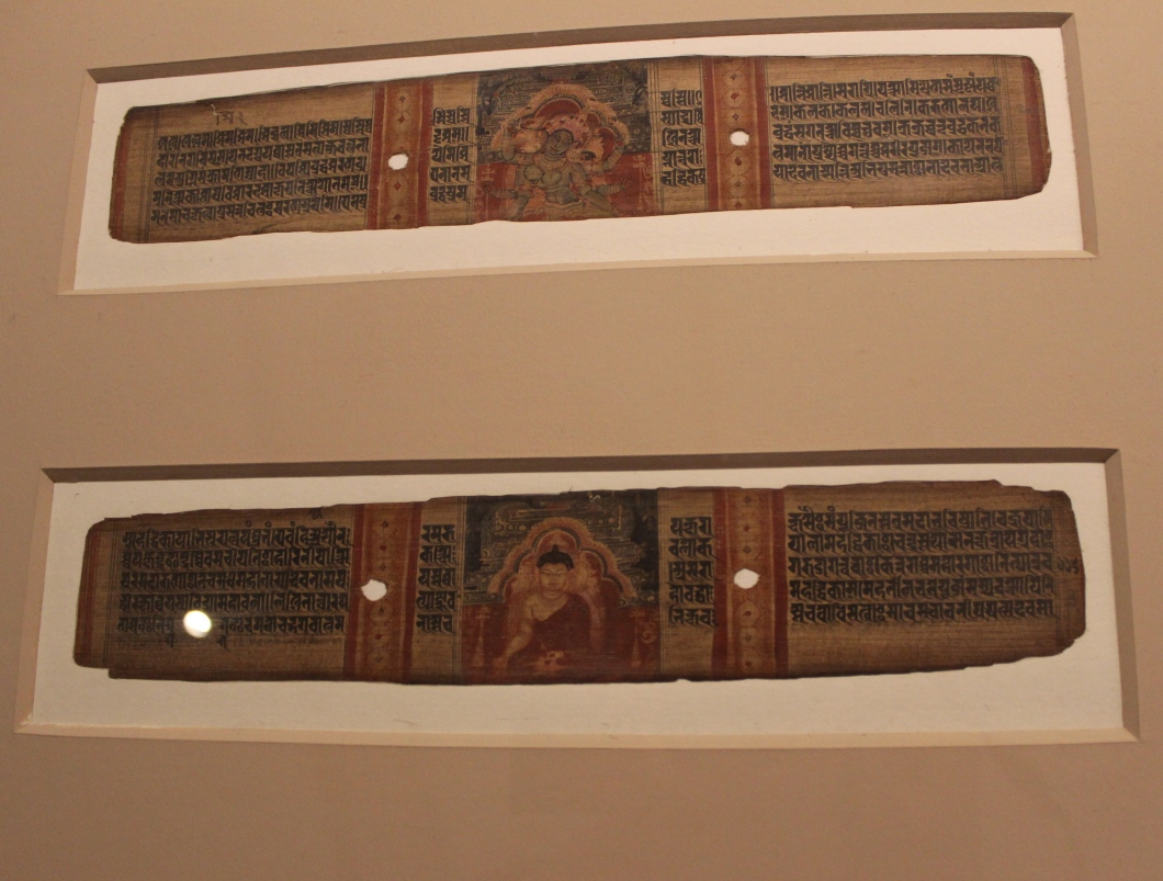 Buddha and Goddess Marichi: Folios from manuscript of Prajnaparmita, Palm leaf, Pala Style, Eastern India, 12th century C.E. (Indian Miniature Painting - Photograph in mirandavoice.com)