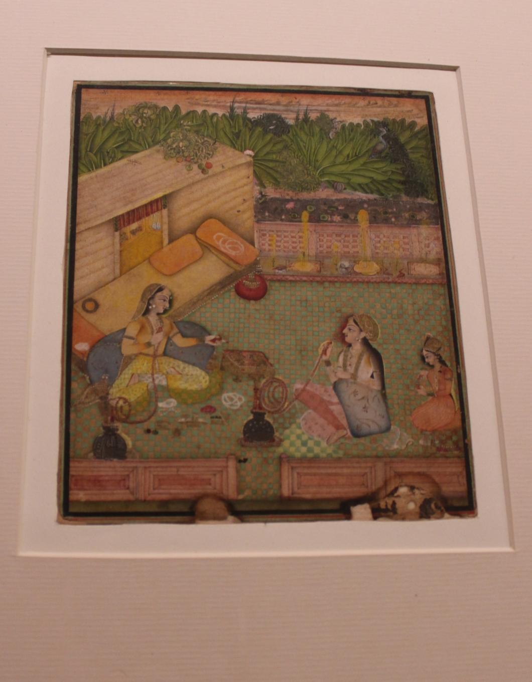 Ladies Enjoying Huqqa: Rajasthani, Bundi, Mid-18th century CE (Indian Miniature Painting - Photograph in mirandavoice.com)