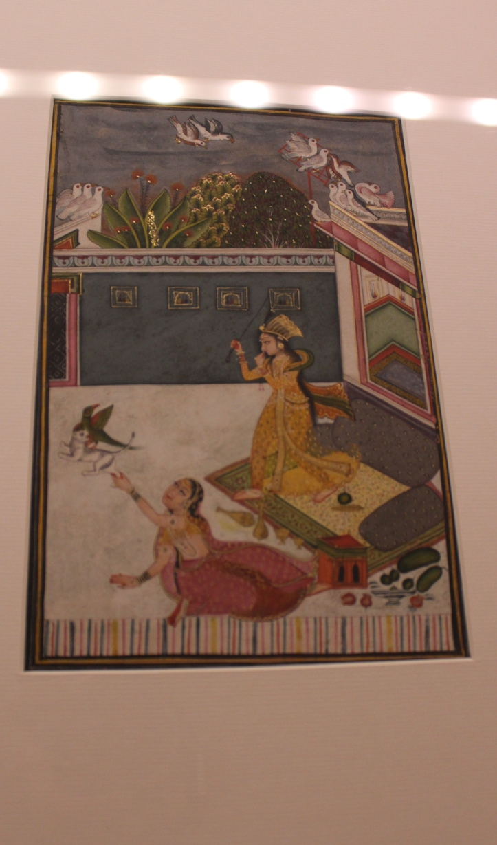 Ladies Passing their time on the terrace: Rajasthani, Bundi, Late18th century CE (Indian Miniature Painting - Photograph in mirandavoice.com)