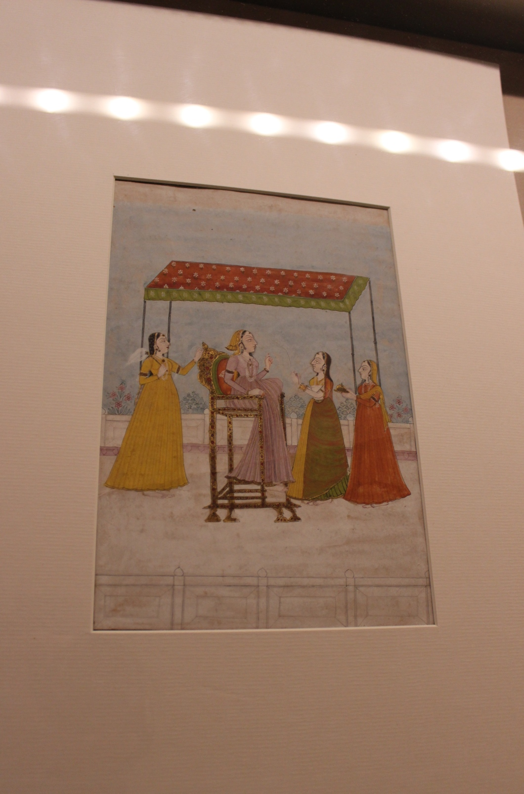 A Lady with Attendants: Rajasthani, Bikaner, Late18th century CE, Sir Ratan Tata Art Collection (Indian Miniature Painting - Photograph in mirandavoice.com)