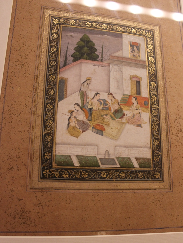 Princess Enjoying a Pleasure Party: Rajasthani, Bikaner, Early 18th century CE, Sir Ratan Tata Art Collection  (Indian Miniature Painting - Photograph in mirandavoice.com)