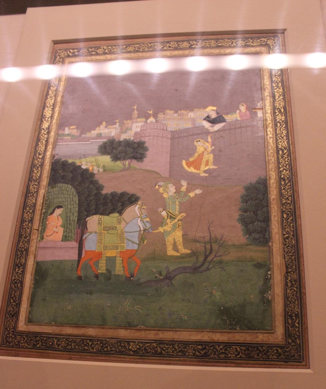 The escape of Rani Rupmati with Bajbahadur: Rajasthani, Jaipur, 19th century CE (Indian Miniature Painting - Photograph in mirandavoice.com)