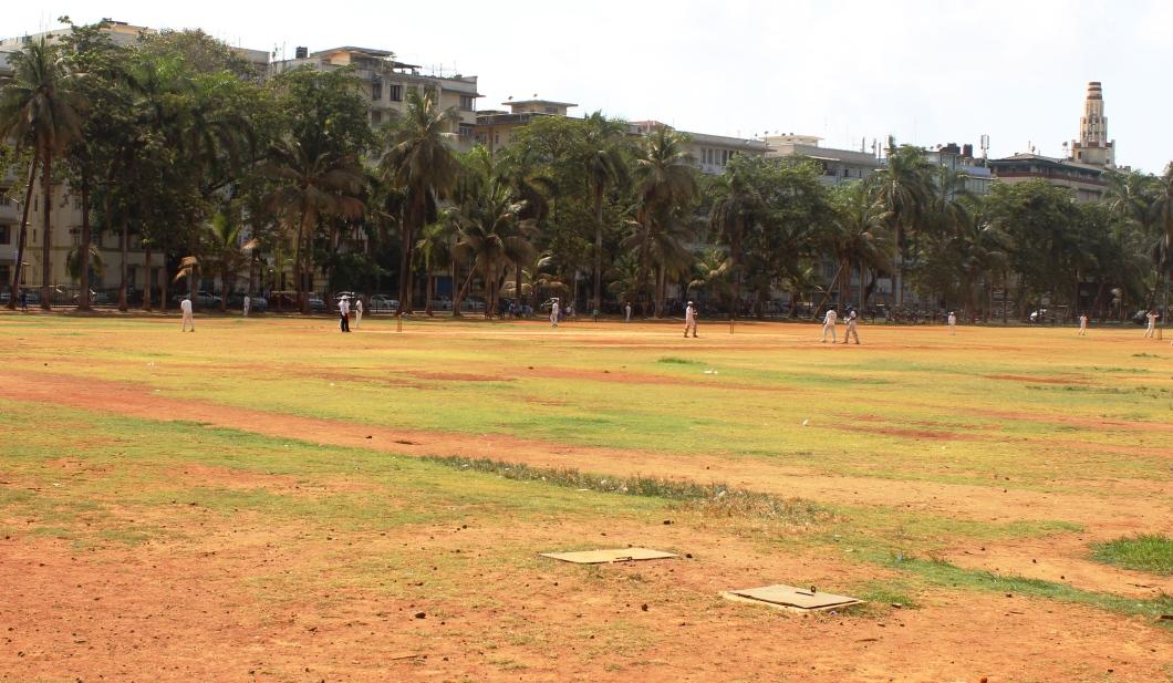 An on-going cricket match at Azad Maidan. Azad Maidan is a regular venue for inter-school cricket matches in Mumbai - Photograph in mirandavoice.com