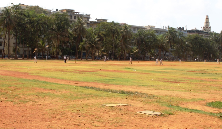 An on-going cricket match at Azad Maidan. Azad Maidan is a regular venue for inter-school cricket matches in Mumbai - Photograph in mirandavoice.com